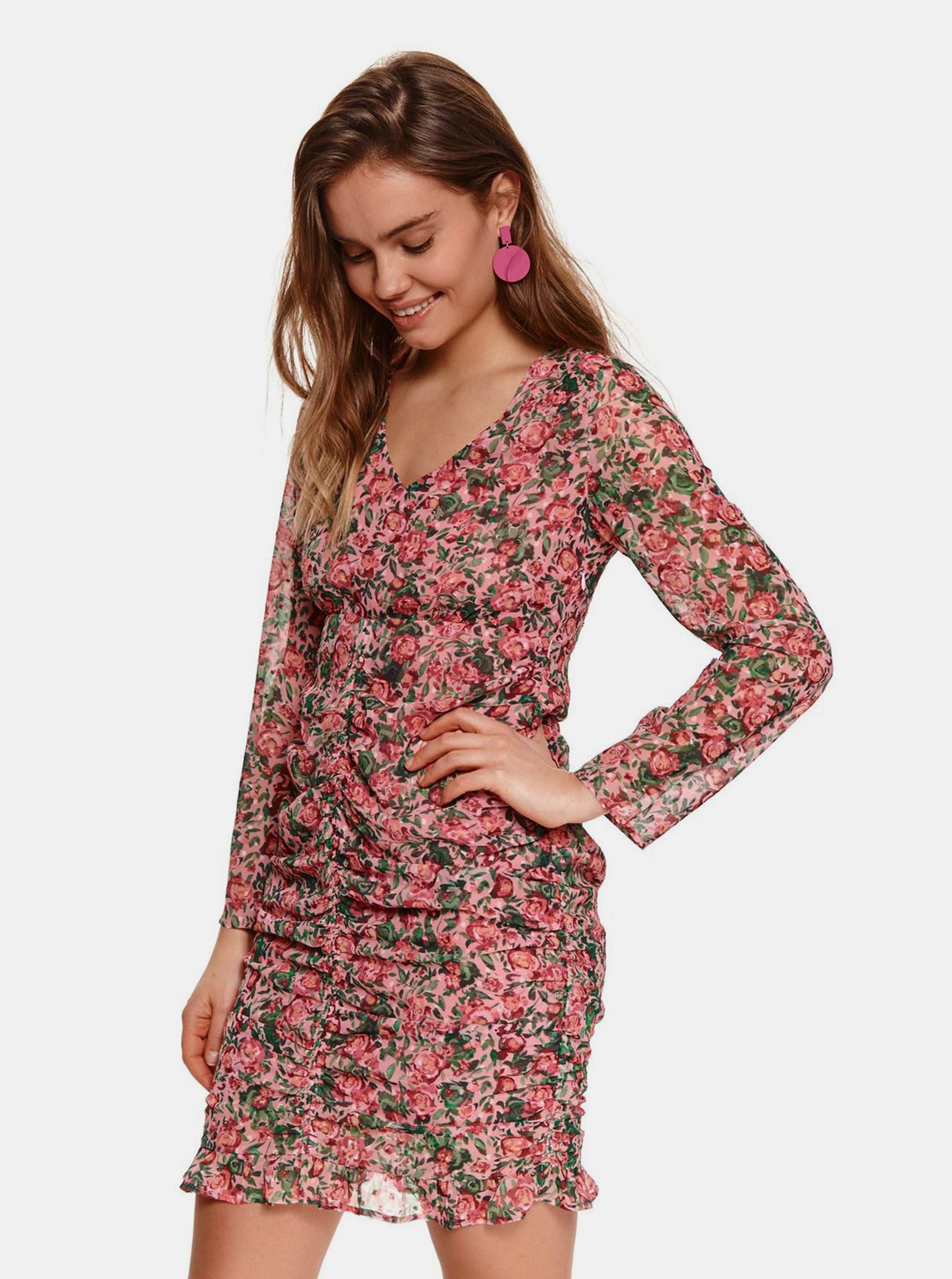 TOP SECRET ružové kvetované puzdrové šaty - XS