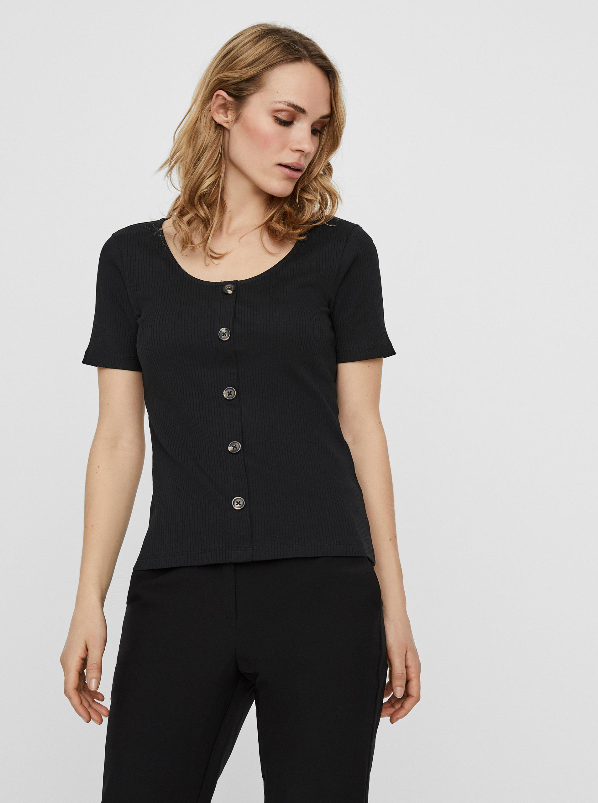 Vero Moda čierne tričko Helsinki - M