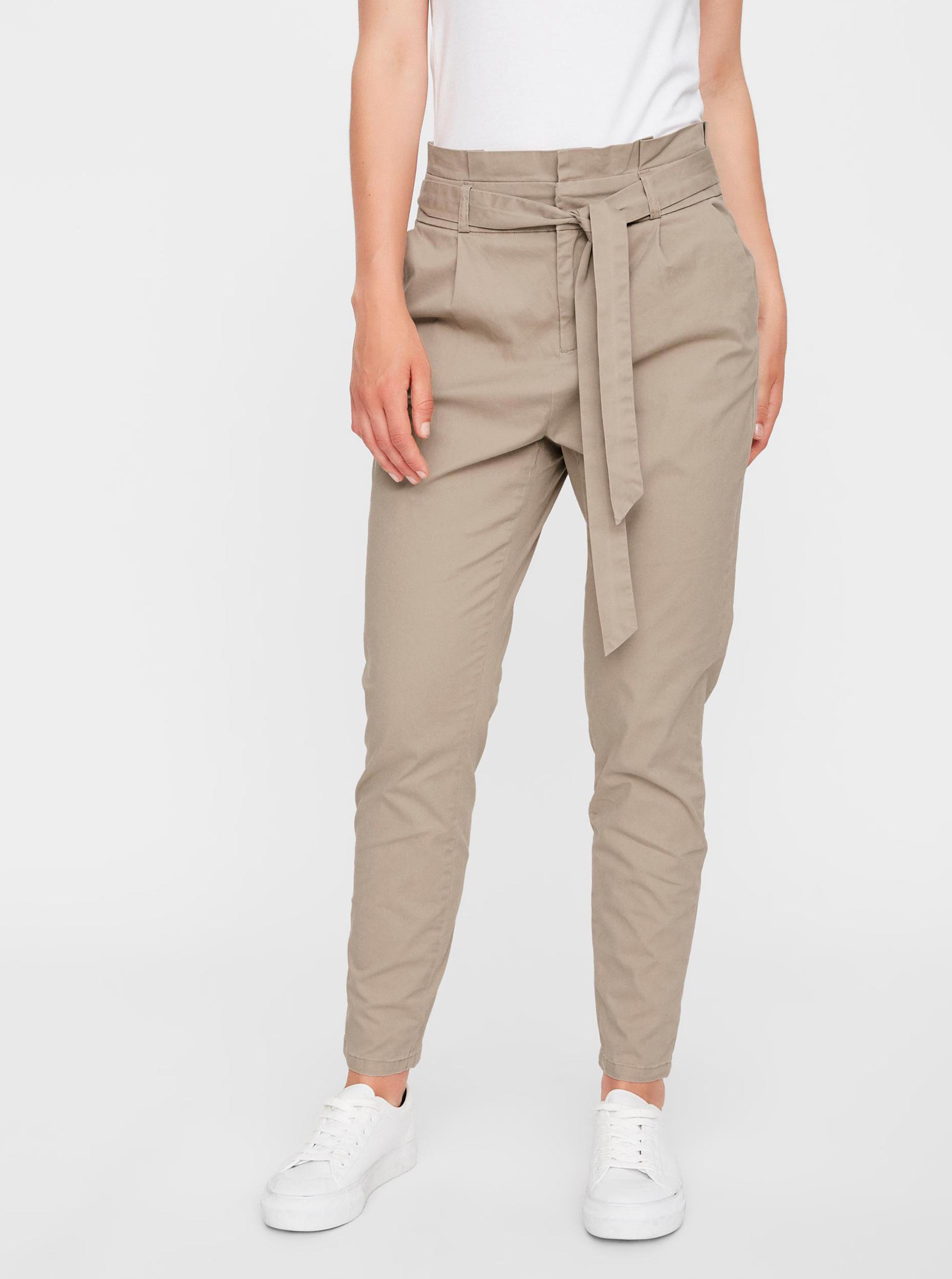 Vero Moda béžové nohavice Eva - XS