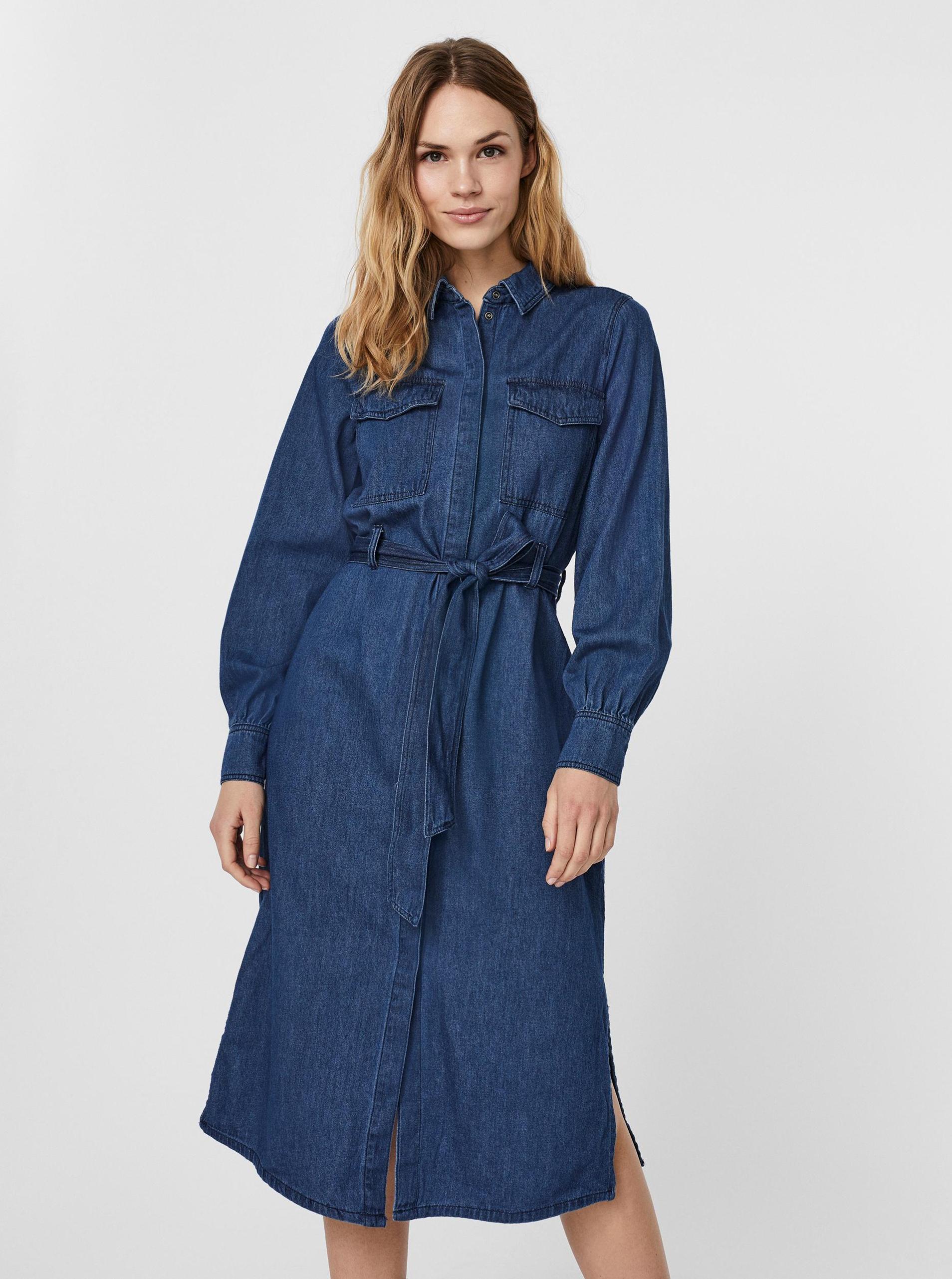 Vero Moda modré košeľové midi džínsové šaty - M