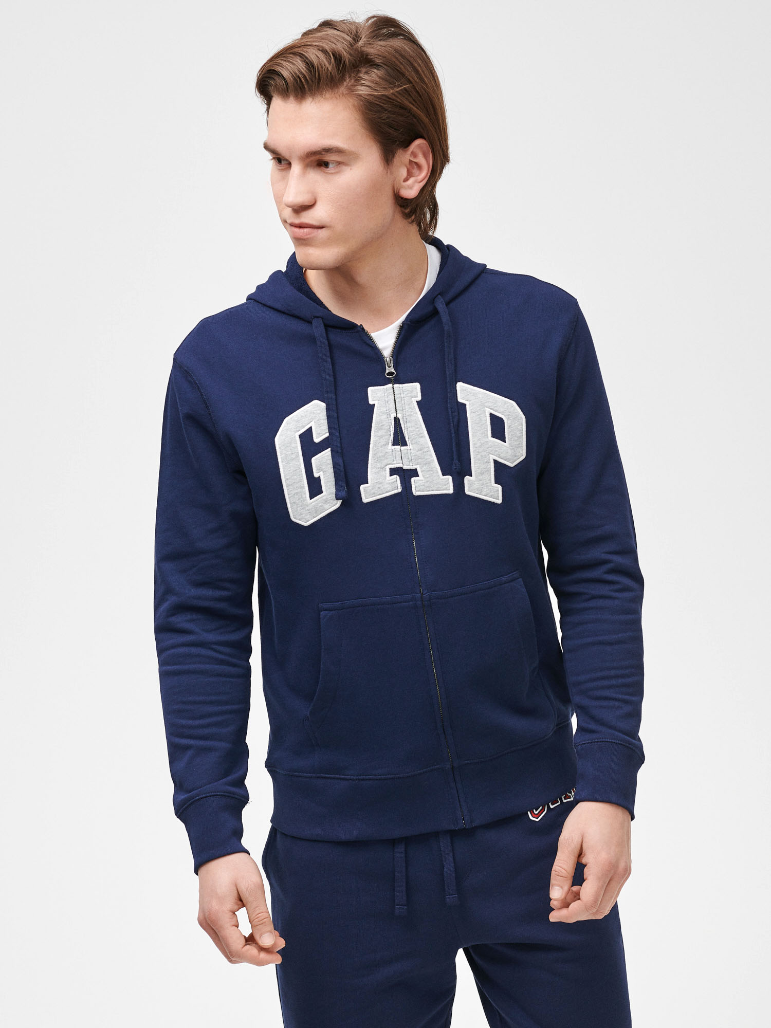 GAP modré pánska mikina Logo arch hoodie - XS
