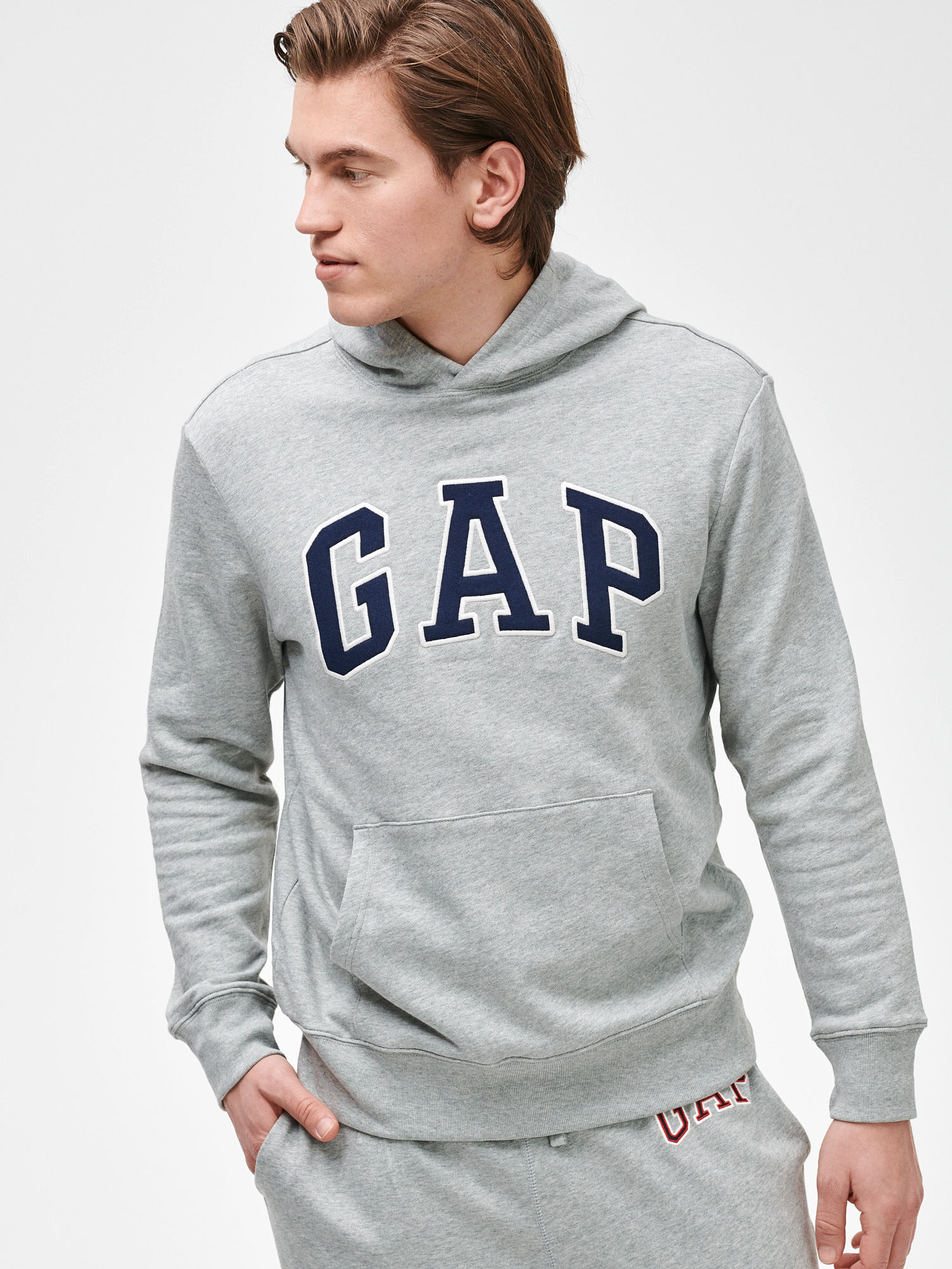 GAP sivé pánska mikina Logo arch hoodie - XS