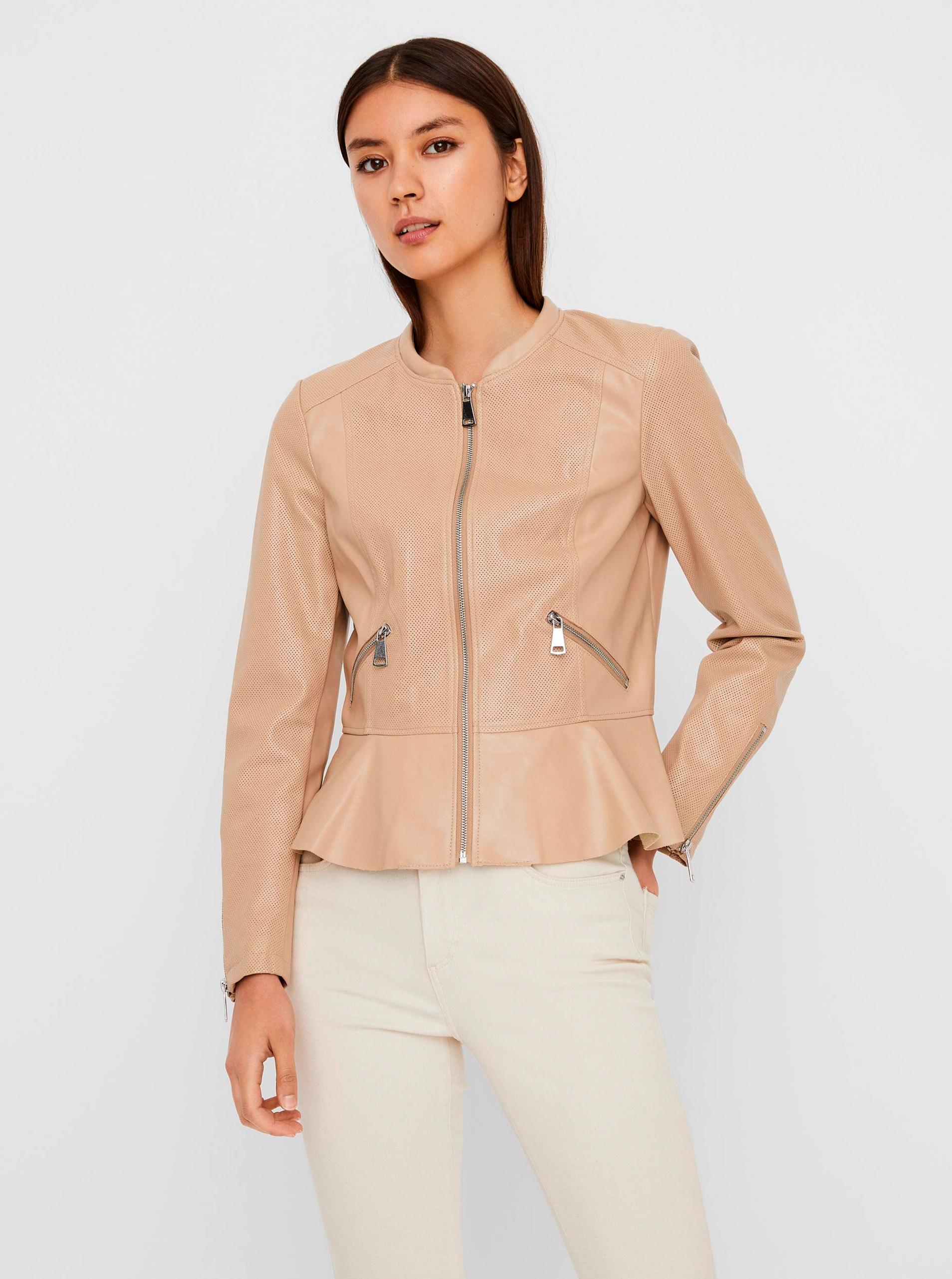 Vero Moda béžové koženková bunda - S