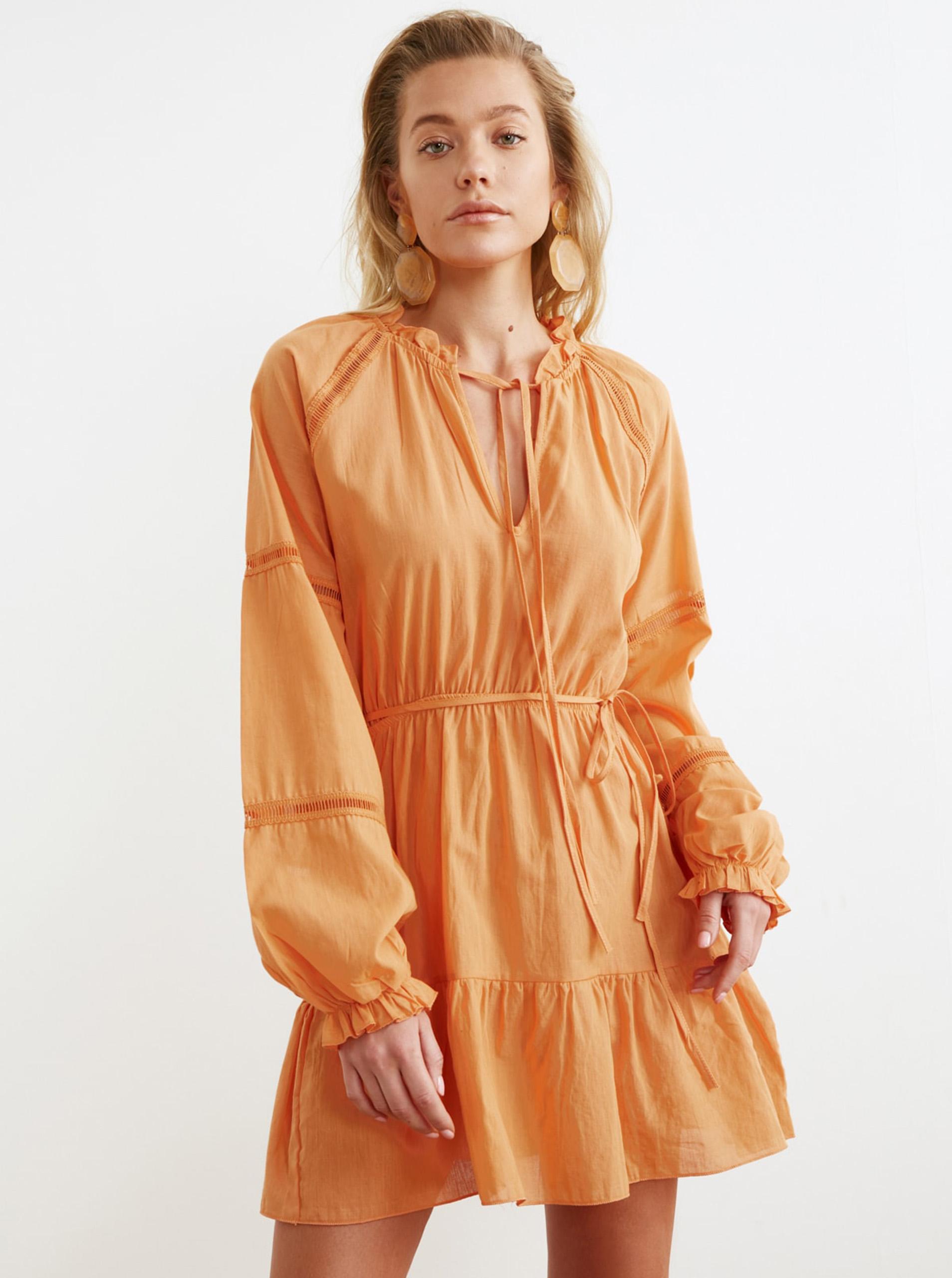 Trendyol oranžové áčkové šaty - L