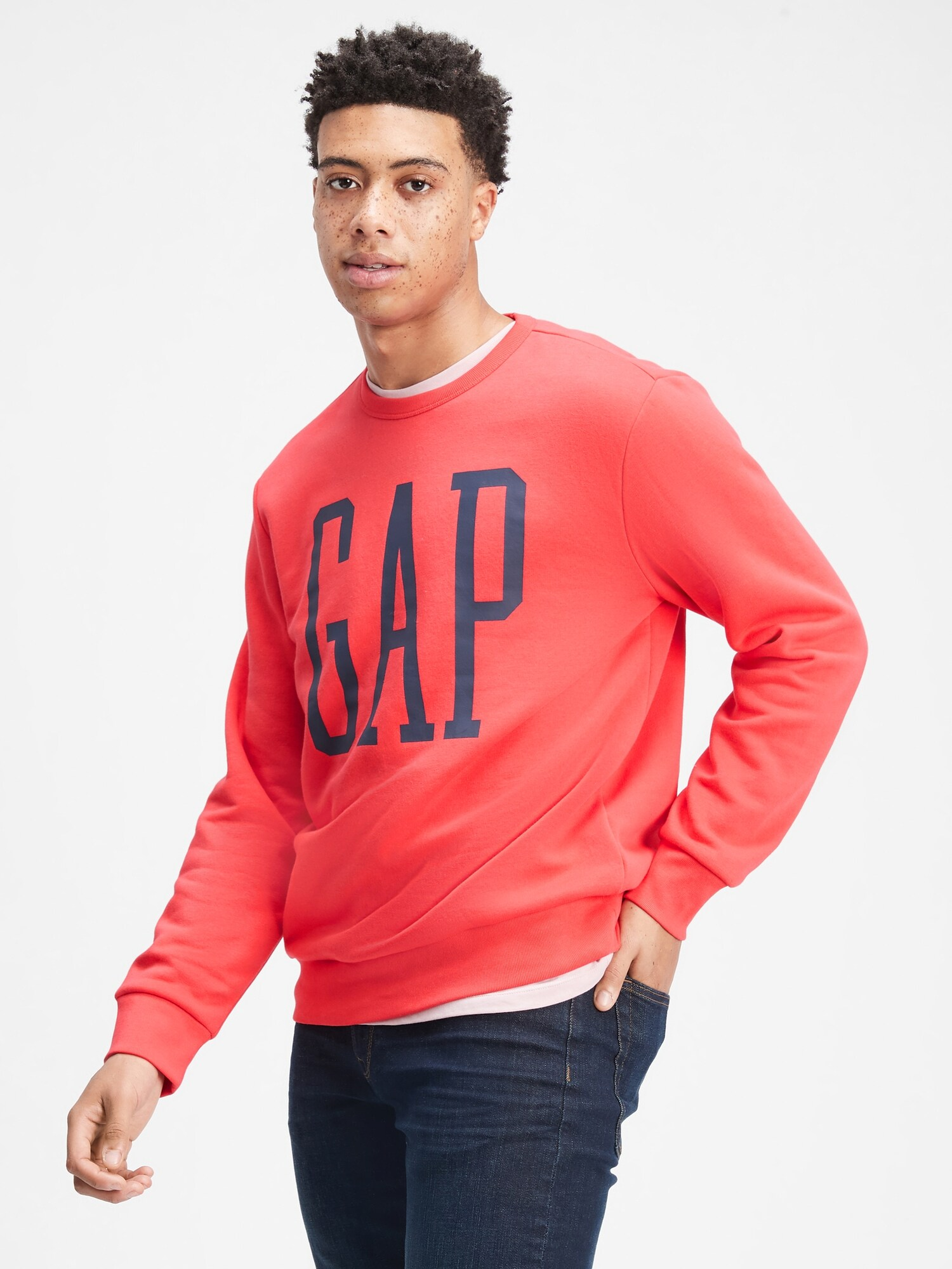 Mikina GAP Logo pullover Sweatshirt Červená - XL
