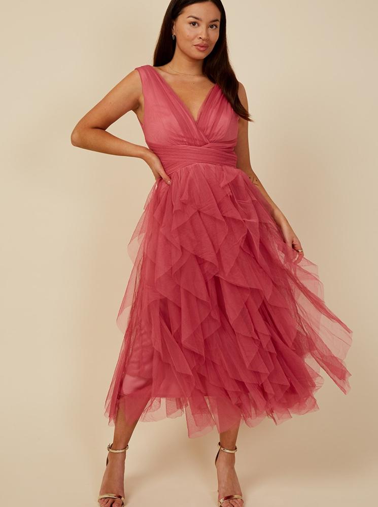 Little Mistress ružové spoločenské šaty - XS